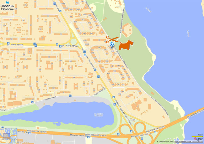 Схема проезда ул. Оболонская набережная 11, корпус 2